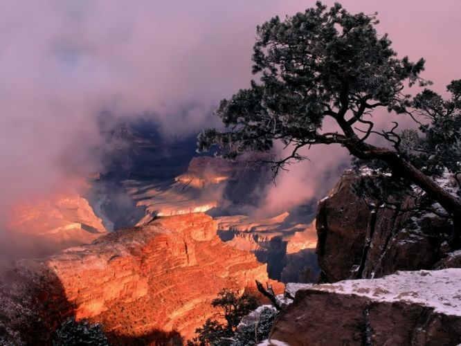 mountains clouds nature trees cliffs wallpaper