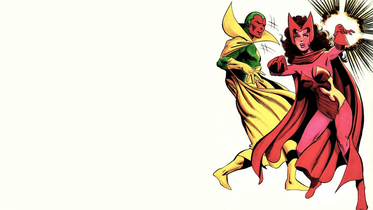 Comics Marvel Scarlet Witch White Background The Vision Wallpaper