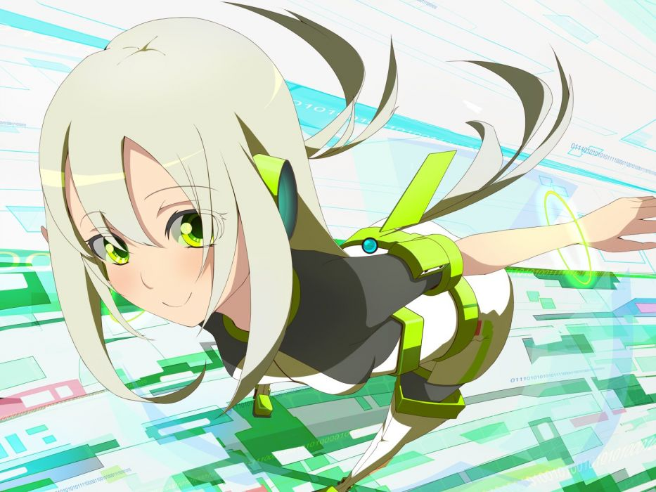 Futuristic Long Hair Green Eyes Anime White Hair Anime Girls