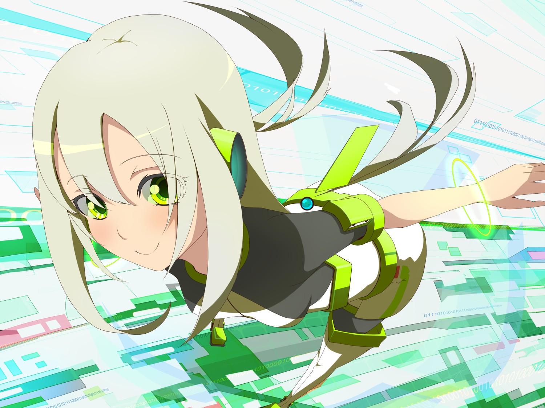 Futuristic Long Hair Green Eyes Anime White Girls Original Characters Wallpaper