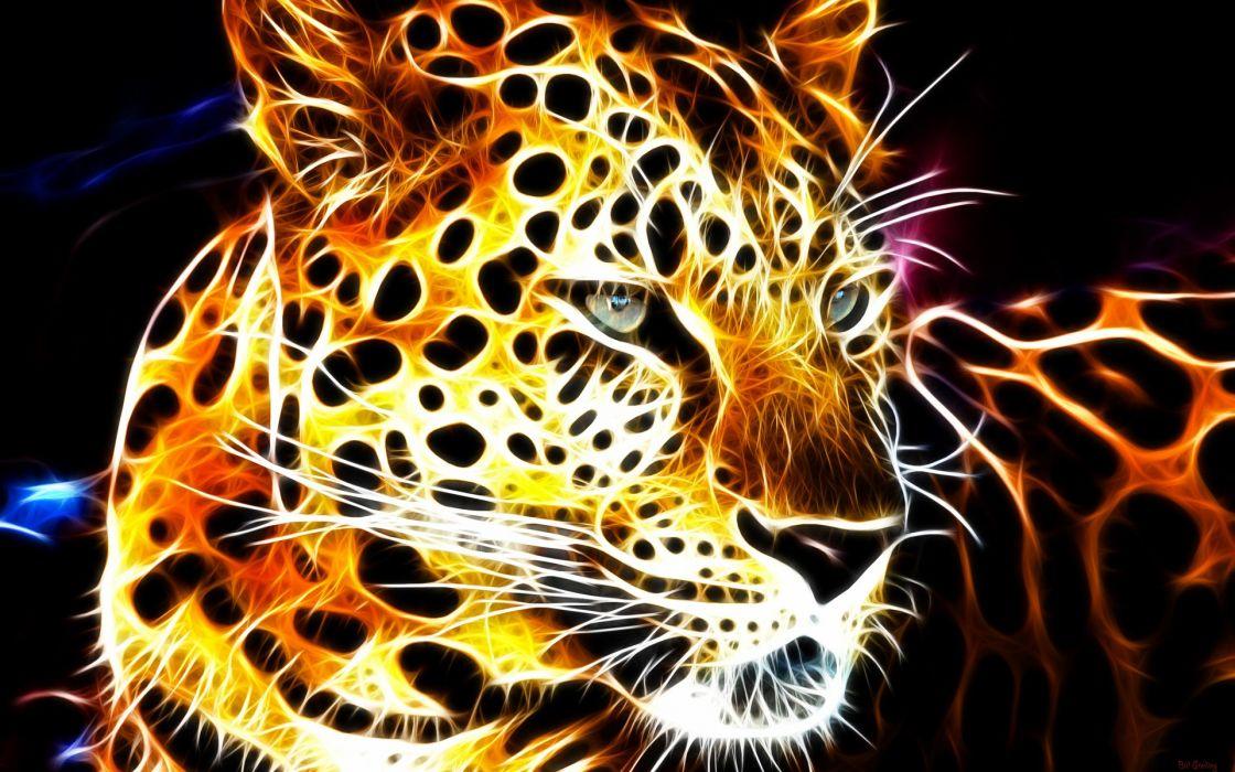 animals fractals Fractalius shining glowing leopards black background fractal wallpaper