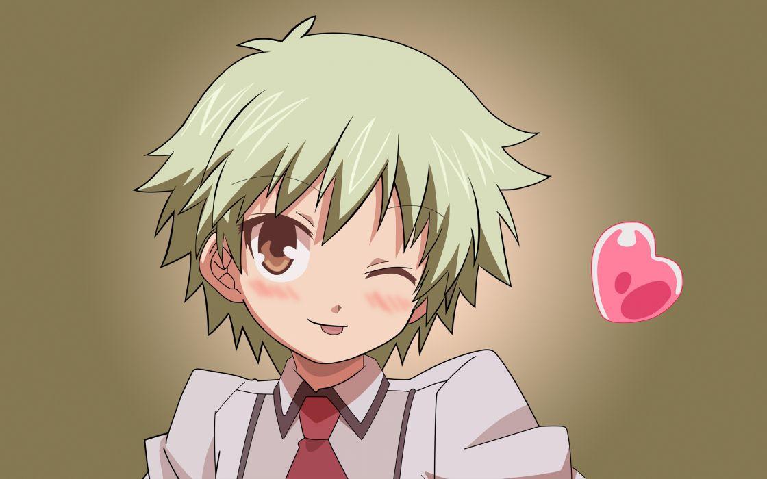 school uniforms tie short hair green hair blush Baka to Test to Shoukanjuu hearts wink simple background Kudou Aiko wallpaper
