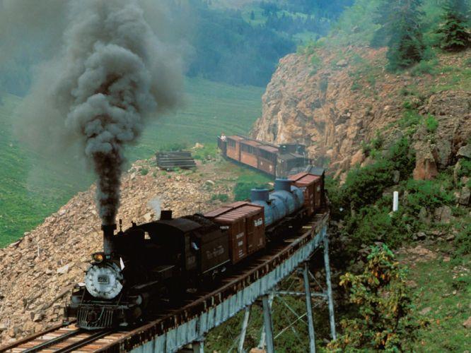trains bridges railroad tracks steam engine vehicles countryside wallpaper