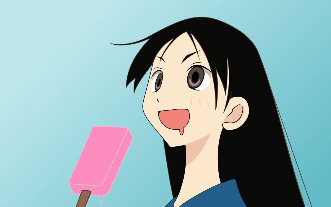 Sayonara Zetsubou Sensei long hair brown eyes open mouth popsicles simple background anime girls faces blue background black hair Kitsu Chiri wallpaper