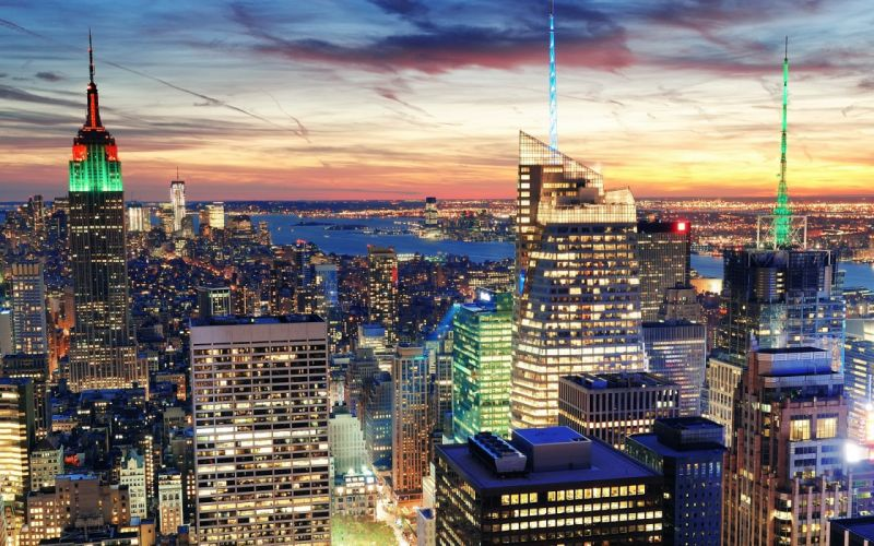 cityscapes New York City city lights cities wallpaper