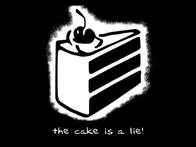 Valve Corporation Portal the cake is a lie black background wallpaper