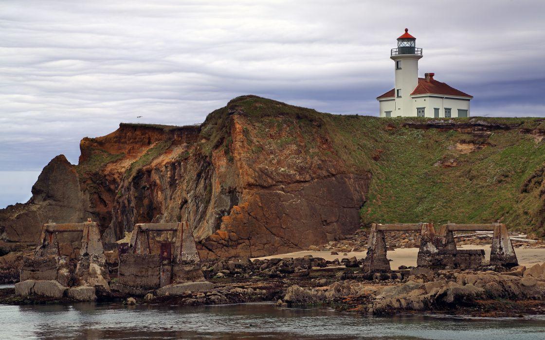 landscapes nature coast architecture rocks cliffs buildings USA lighthouses Oregon overcast sea wallpaper