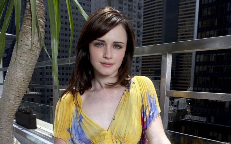 brunettes women Alexis Bledel blue eyes wallpaper