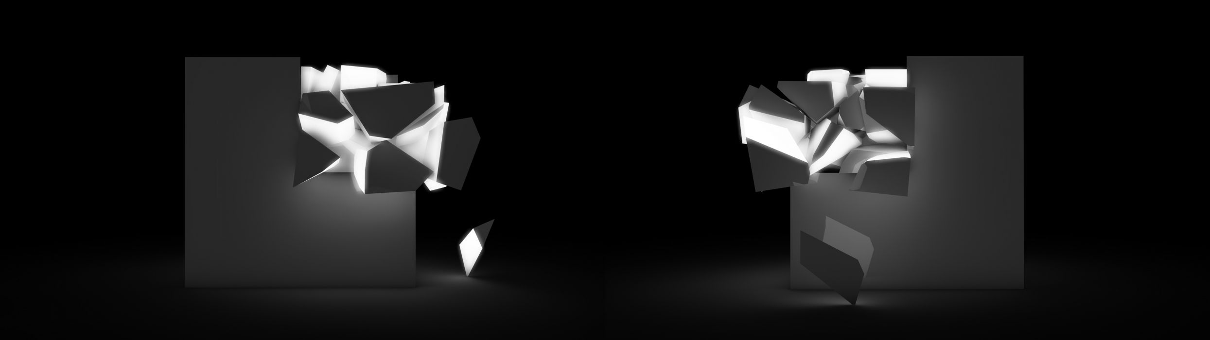 abstract black minimalistic dual screen cubes monochrome greyscale wallpaper
