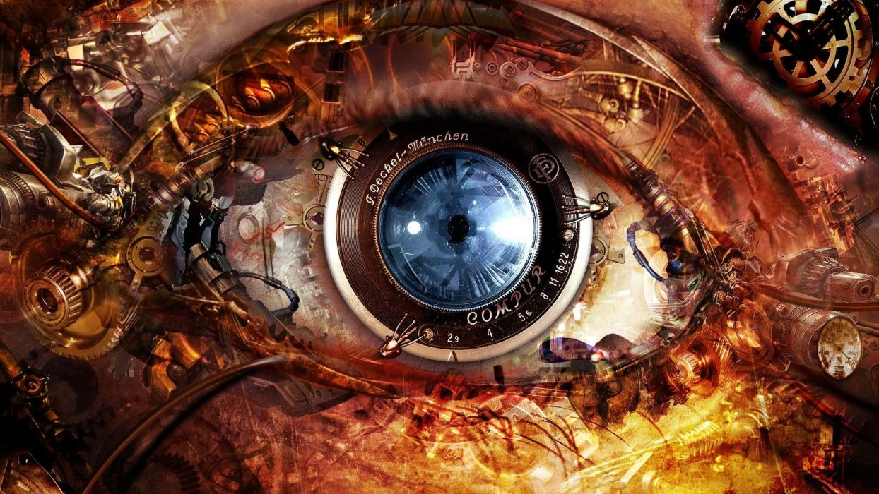 abstract eyes futuristic steampunk clocks gears lens cameras cyberpunk optics time mechanism wallpaper