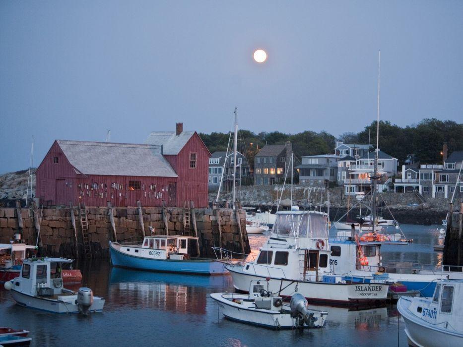 Harbor Massachusetts Moonrise wallpaper