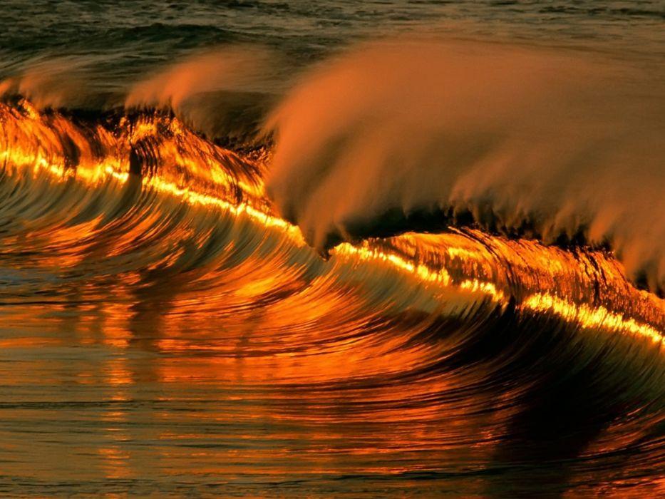 light nature red waves wallpaper