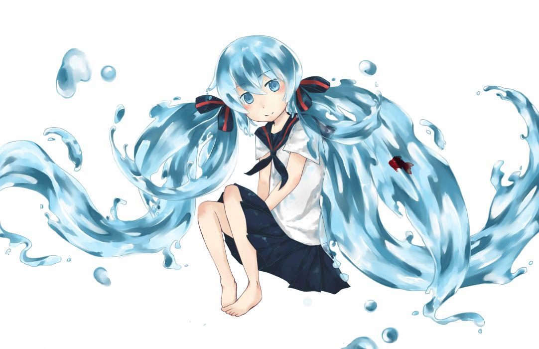 Vocaloid Hatsune Miku twintails anime girls white background Bottle Miku Bottle Vocaloids wallpaper