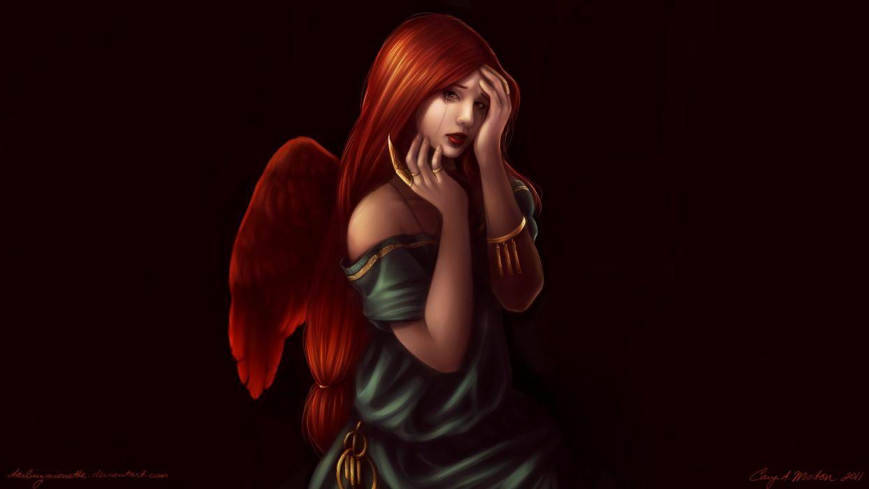 angels digital art black background hands on face wallpaper