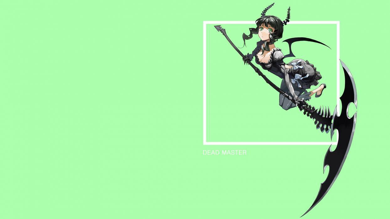 Black Rock Shooter scythe Dead Master horns green eyes anime simple background anime girls green background wallpaper
