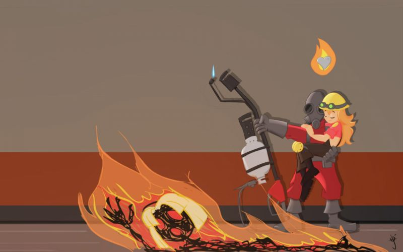 Engineer TF2 Pyro TF2 Team Fortress 2 wallpaper