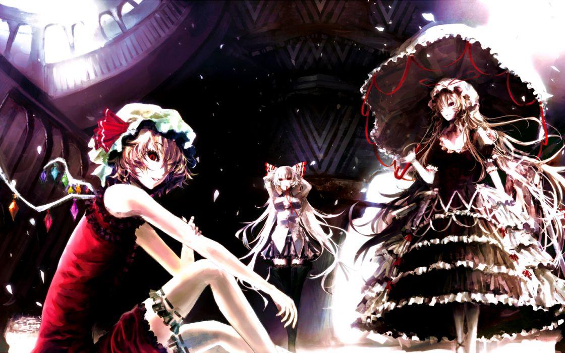 Touhou wings long hair Fujiwara no Mokou red eyes Yakumo Yukari umbrellas white hair Flandre Scarlet anime girls Iori Yakatabako wallpaper