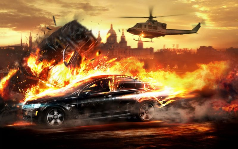 helicopters cars fire vehicles wallpaper