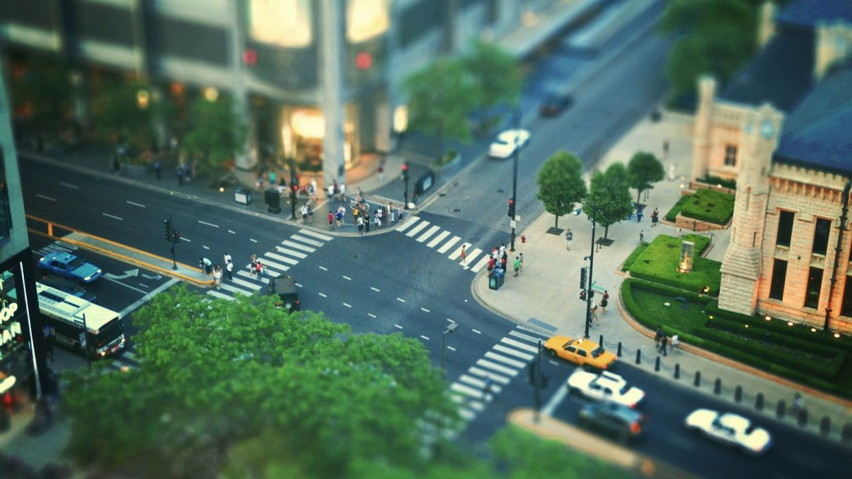cityscapes streets Chicago tilt-shift wallpaper