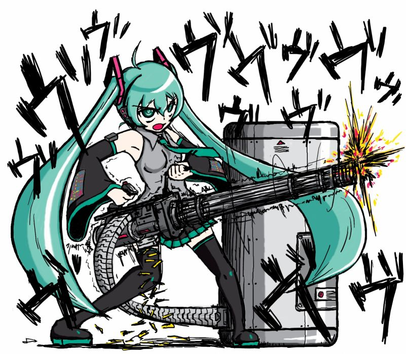 guns Vocaloid Hatsune Miku weapons anime Heavy wallpaper