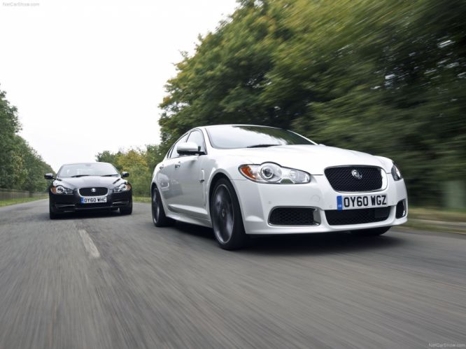 black white cars Jaguar XF wallpaper