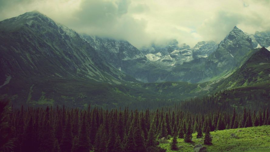 green mountains clouds landscapes nature trees pine trees photo filters Tatra Mountains tatry wallpaper