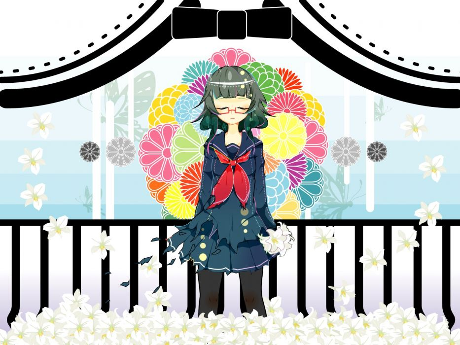 Vocaloid flowers school uniforms glasses green hair meganekko closed eyes Megpoid Gumi wallpaper