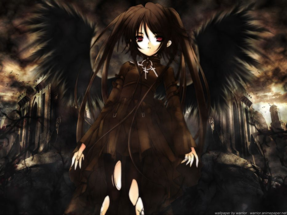 brunettes angels wings black red eyes tights anime anime girls wallpaper
