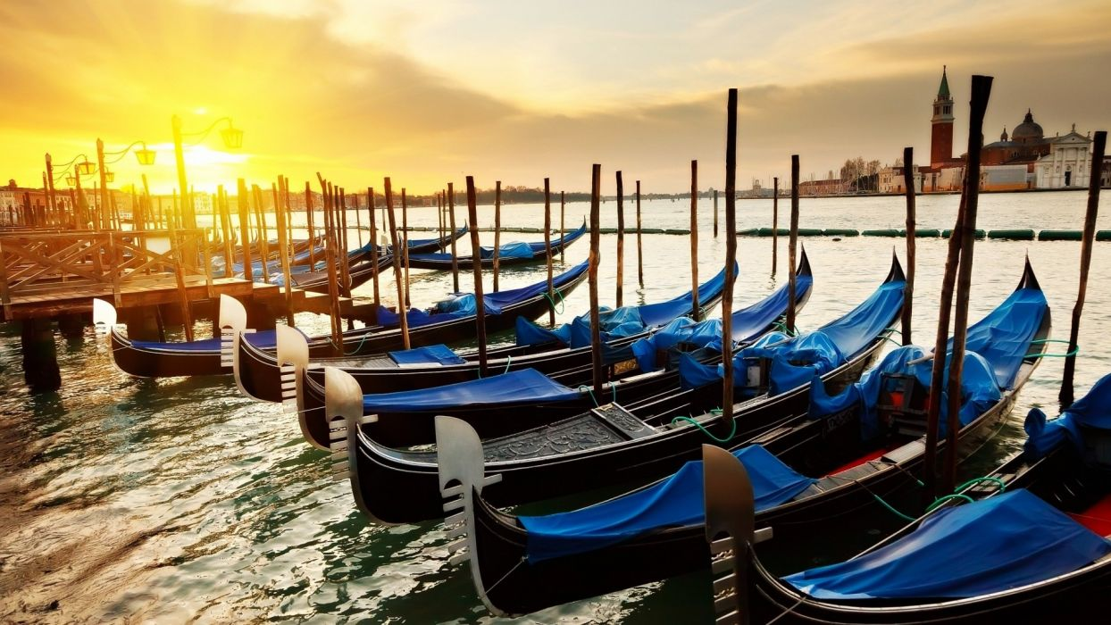 water sunset nature boats Venice wallpaper