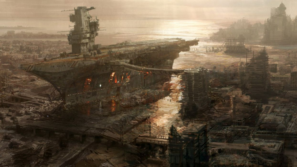 video games carrier Fallout ships apocalypse boats concept art artwork vehicles rivet city Fallout 3 sea wallpaper