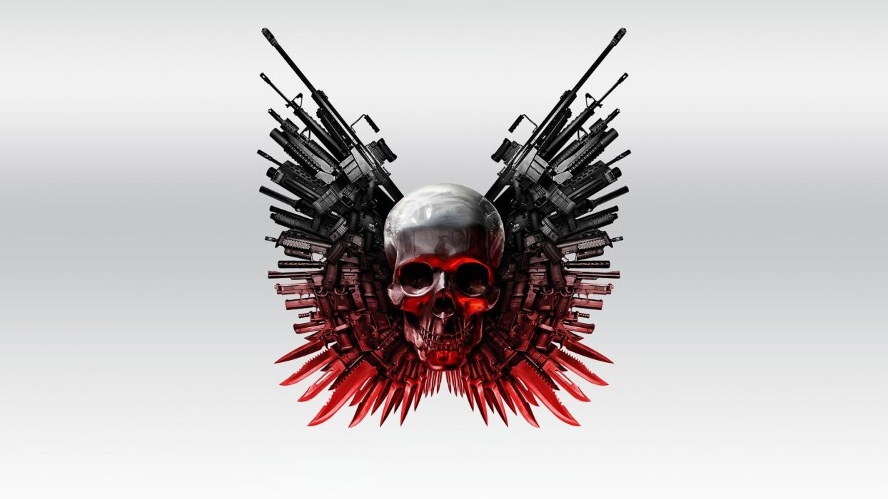 skulls movies The Expendables artwork simple background wallpaper