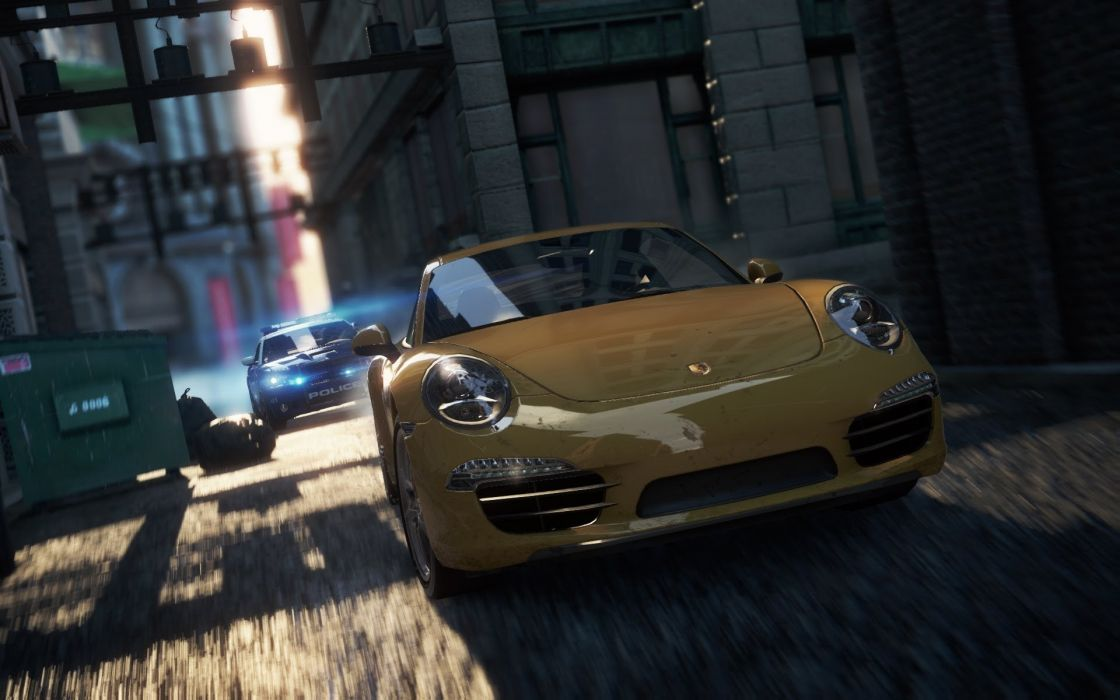 video games police cars Need for Speed Most Wanted yellow cars Porsche 911 Carrera S criterion dumpster wallpaper