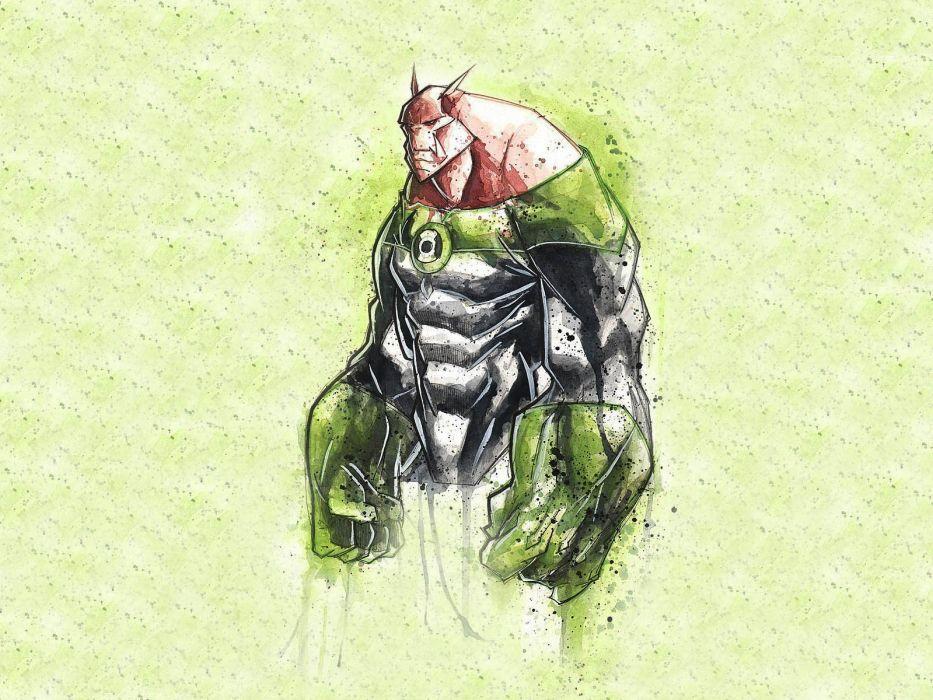 Green Lantern minimalistic superheroes fantasy art artwork wallpaper