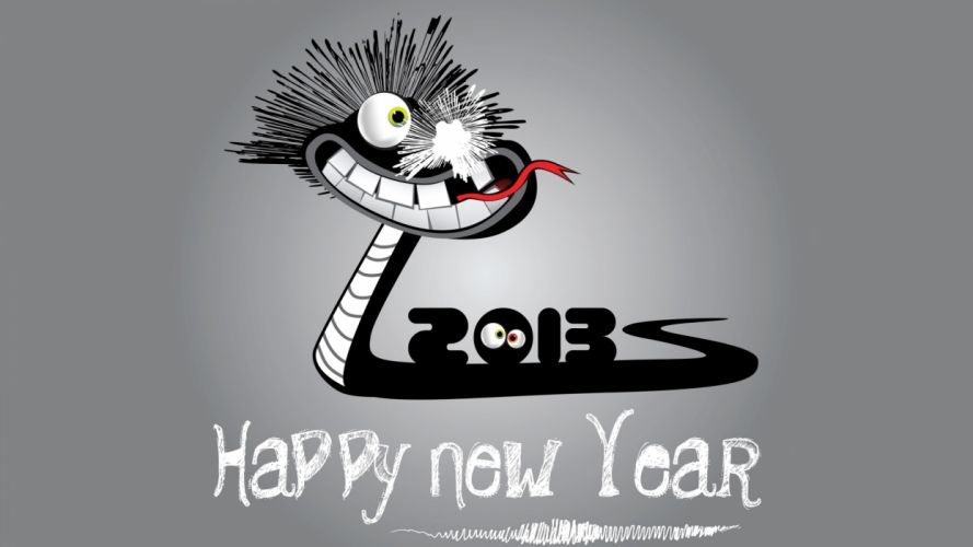 snakes New Year holidays digital art Happy New Year grey background wallpaper