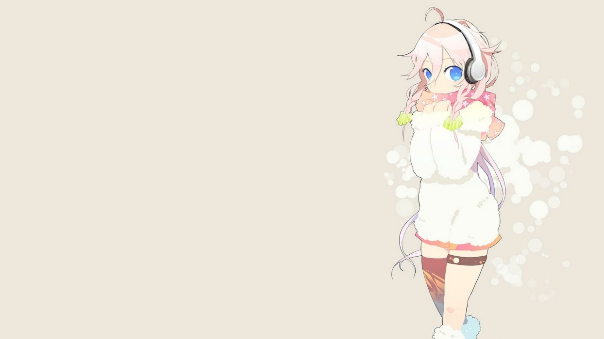 headphones boots winter Vocaloid blue eyes skirts long hair thigh highs braids scarfs white hair ahoge simple background hair ornaments garters bare shoulders sweaters wallpaper