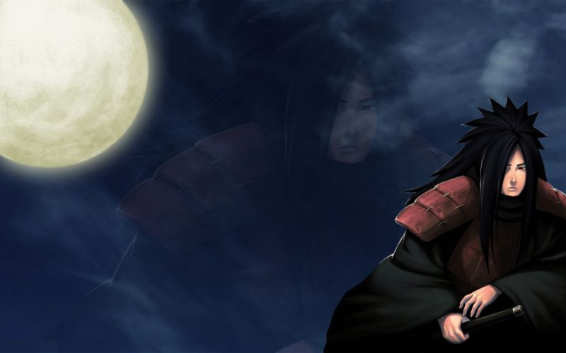 clouds Moon Naruto: Shippuden armor red eyes Uchiha Madara swords black hair wallpaper