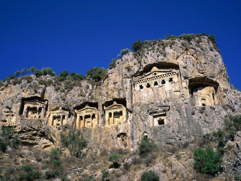 architecture Turkey rock tombs Dalyan wallpaper