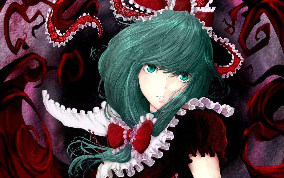video games Touhou dress long hair ribbons green eyes green hair bows red dress Kagiyama Hina wallpaper