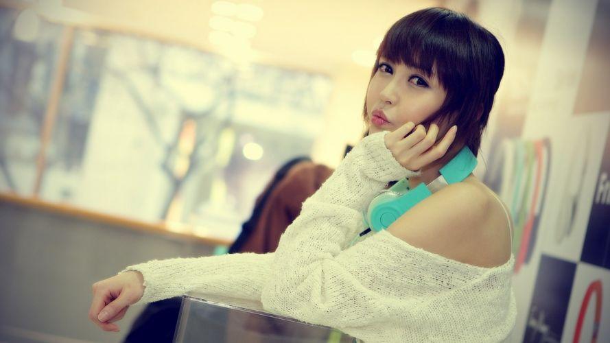 Asians Kang Yui black hair models wallpaper