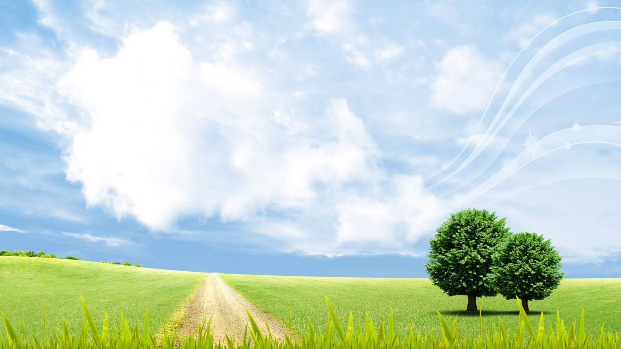 clouds landscapes nature skylines grass fields paths skyscapes wallpaper