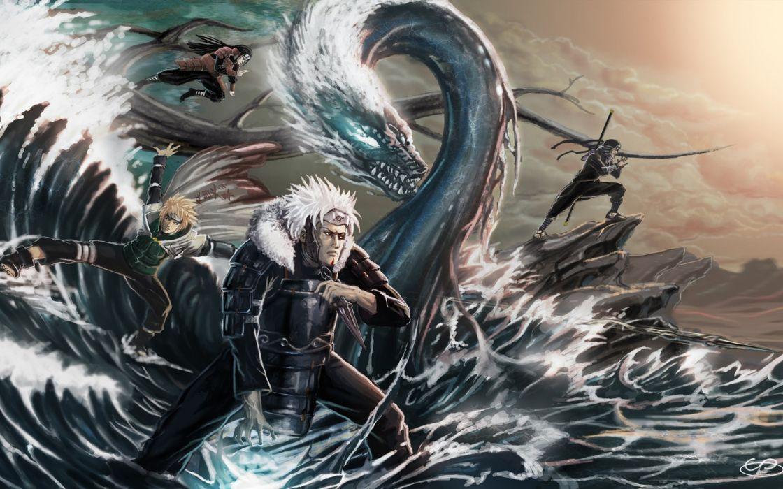 waves Naruto: Shippuden artwork Minato Namikaze Hashirama Senju Tobirama Senju Sarutobi Hiruzen Hokage wallpaper