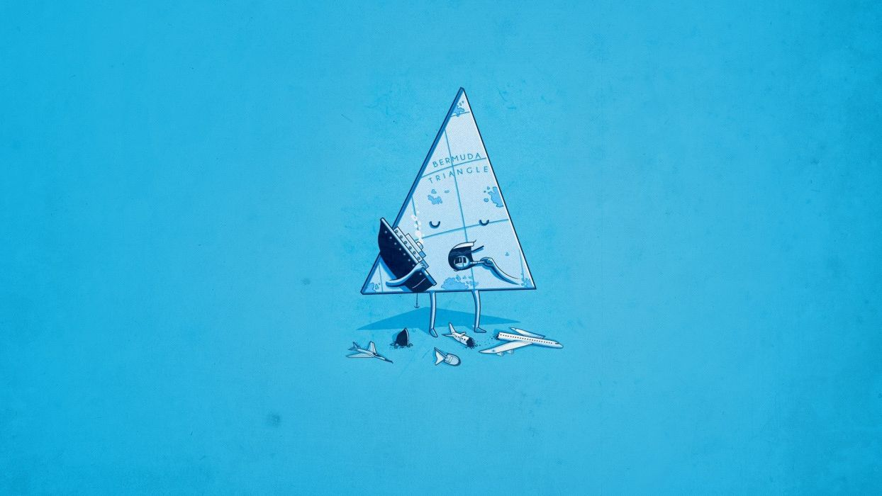 aircraft minimalistic ships funny Bermuda Triangle eating blue background triangles wallpaper