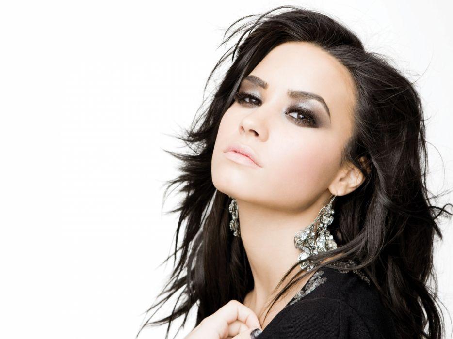brunettes women close-up Demi Lovato faces white background wallpaper