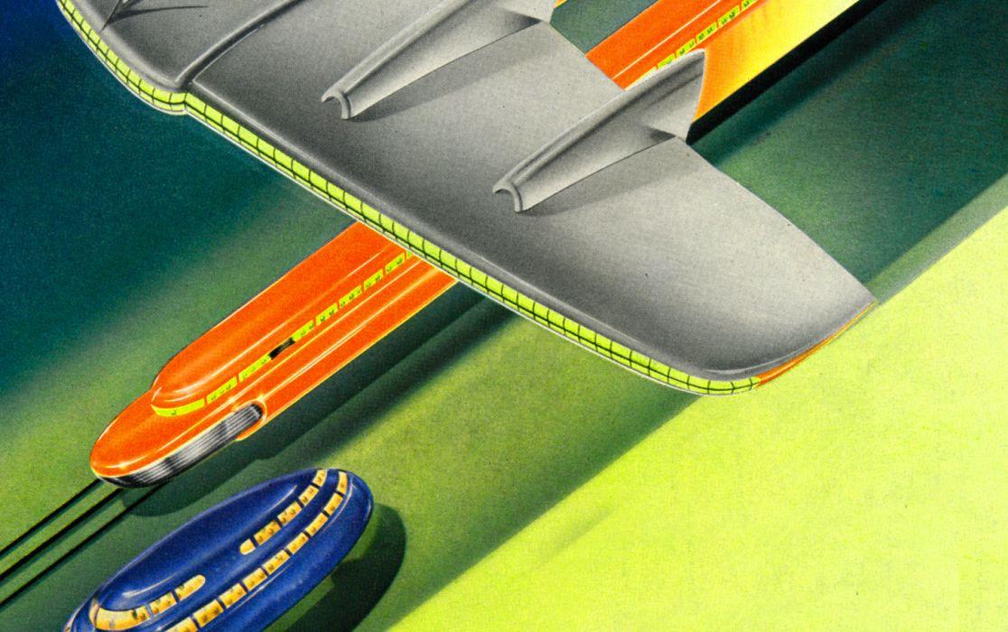 1 graphic retro streamlined art-deco vintage airbrush futuristic space age atomic age Soft wallpaper
