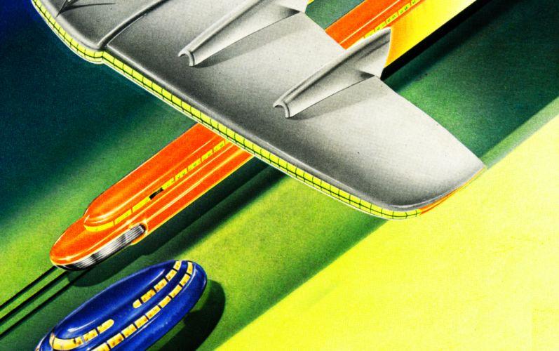 2 graphic retro streamlined art-deco vintage airbrush futuristic space age atomic age Medium wallpaper