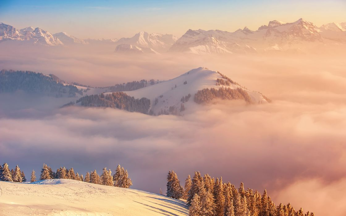 Alps Switzerland mountain ridge clouds wallpaper