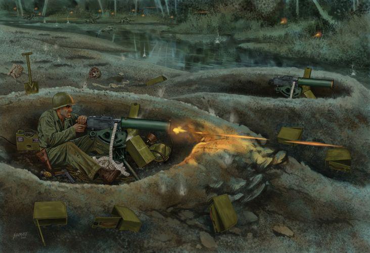 battle art soldier military painting weapon gun machine war wallpaper