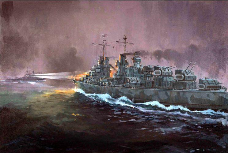 battleship war battle ship boat military art painting t wallpaper