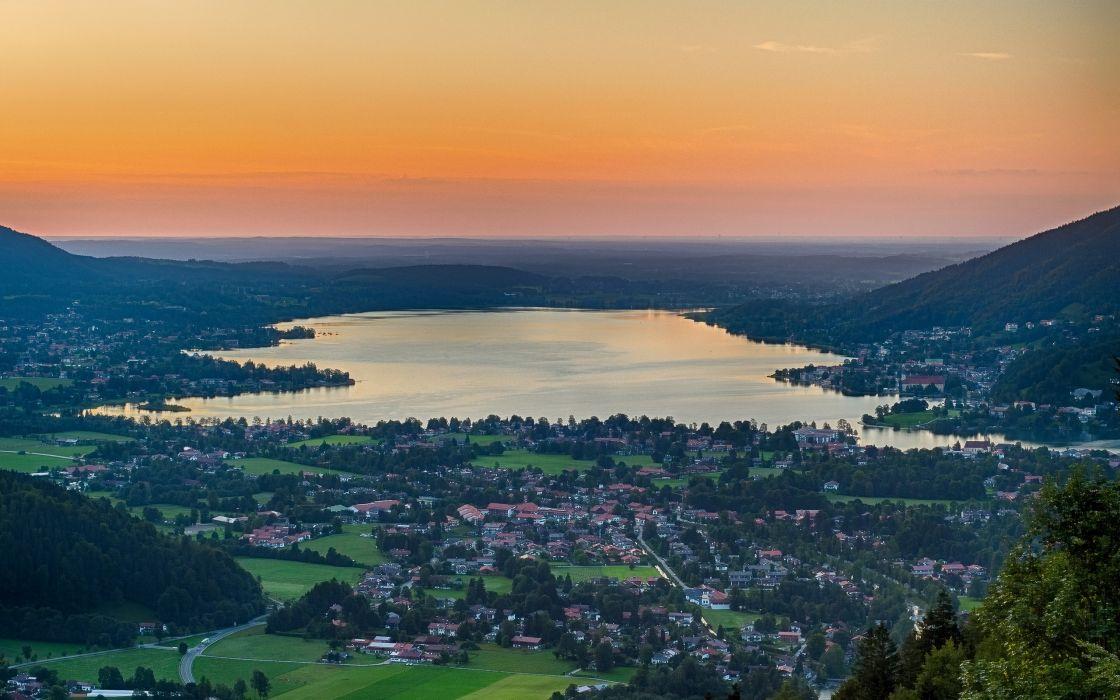Bavaria Germany Lake Tegernsee lake panorama wallpaper