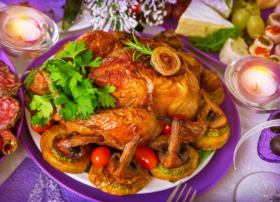 chicken mushrooms garnished with parsley candles holiday wallpaper